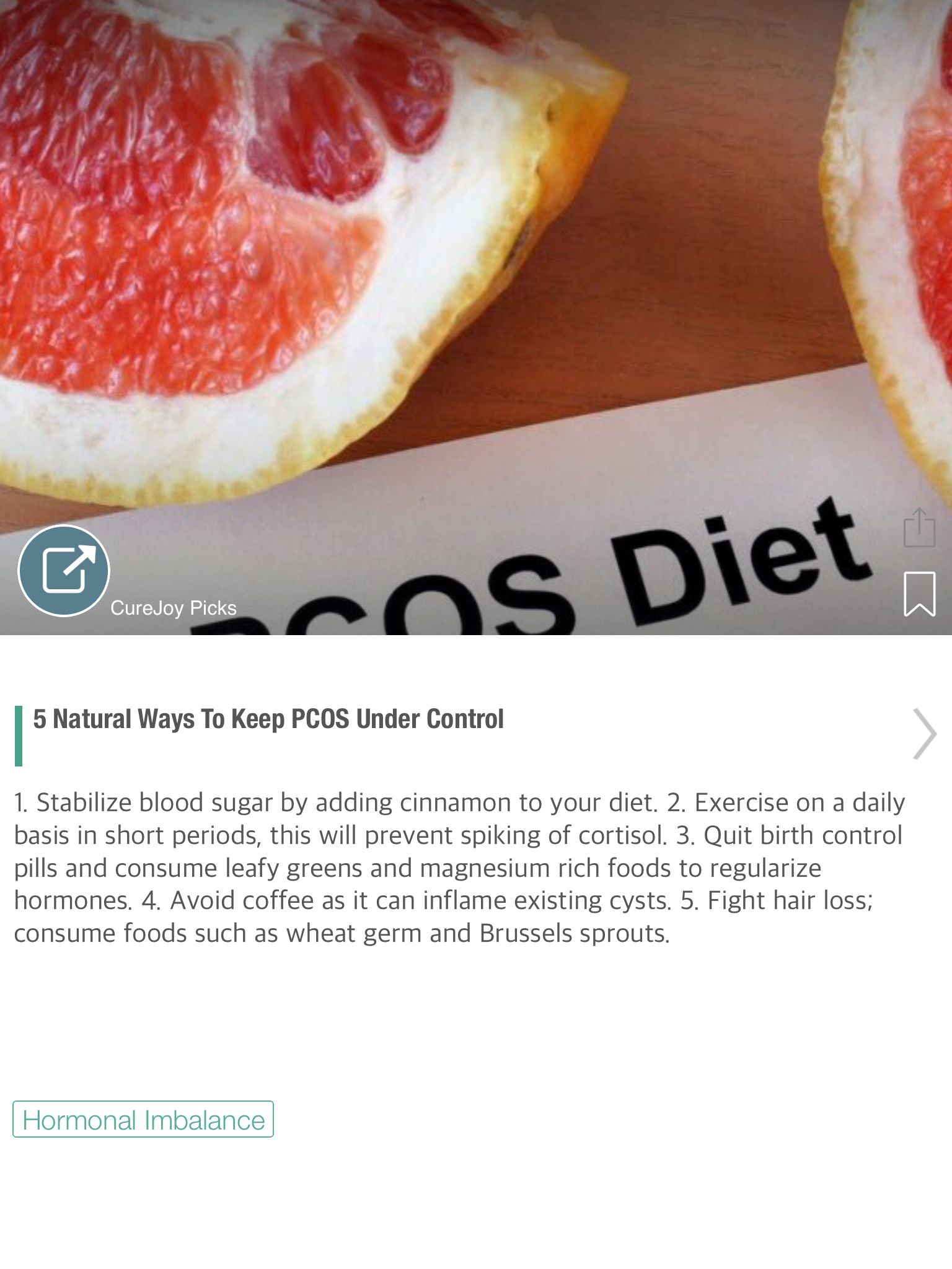 5 Natural Ways To Keep PCOS Under Control - via @CureJoy
