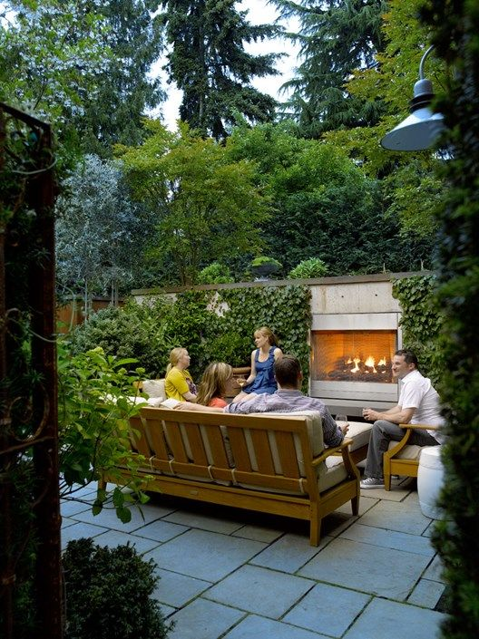 Small Garden Garden Fireplace Scot Eckley Inc Seattle WA