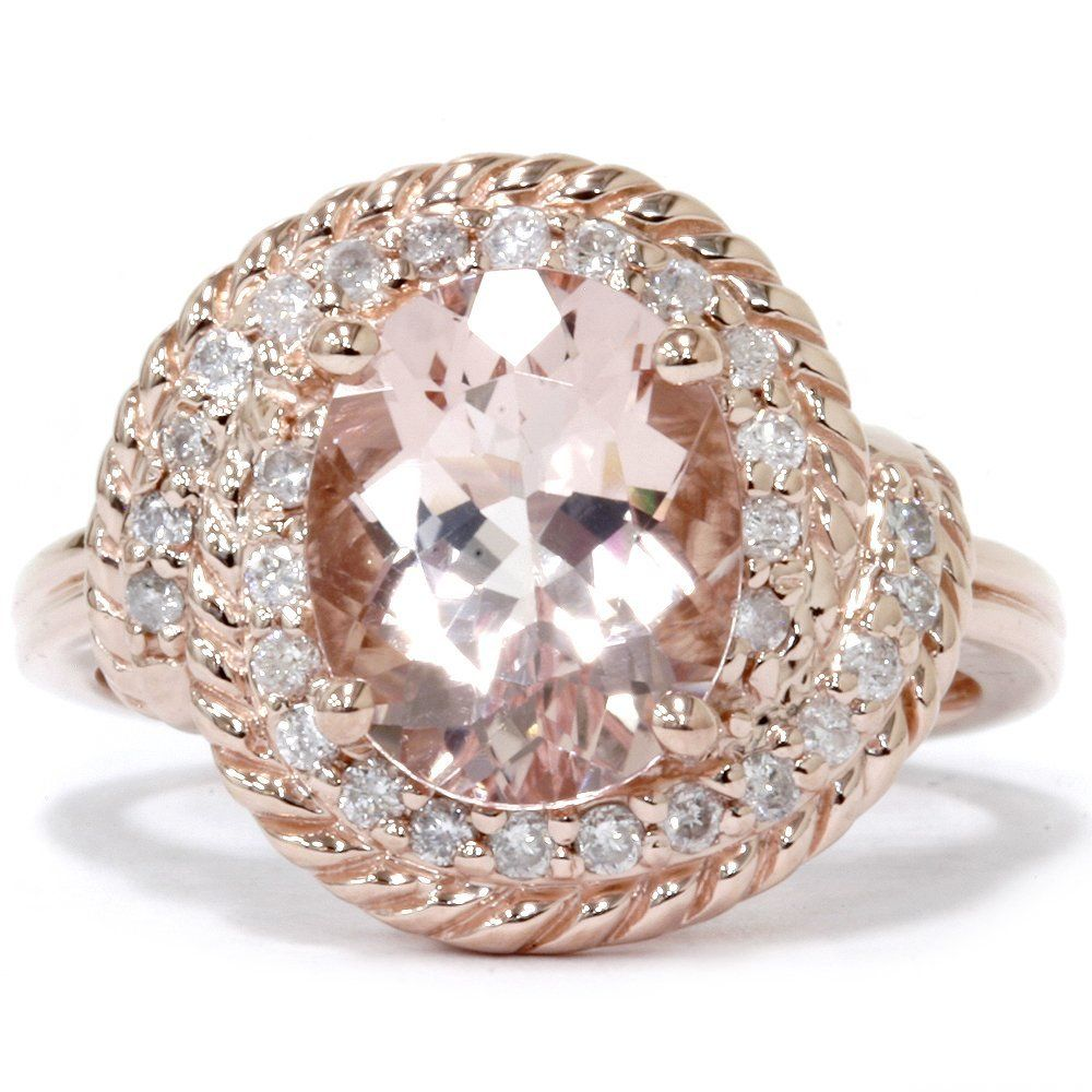 rose gold wedding rings 14K Rose Gold Morganite Vintage Engagement Ring Here s a magnificent Morganite Vintage Engagement Ring that