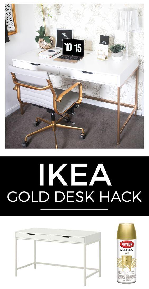 white and gold desk ikea hack wystr j pinterest. Black Bedroom Furniture Sets. Home Design Ideas