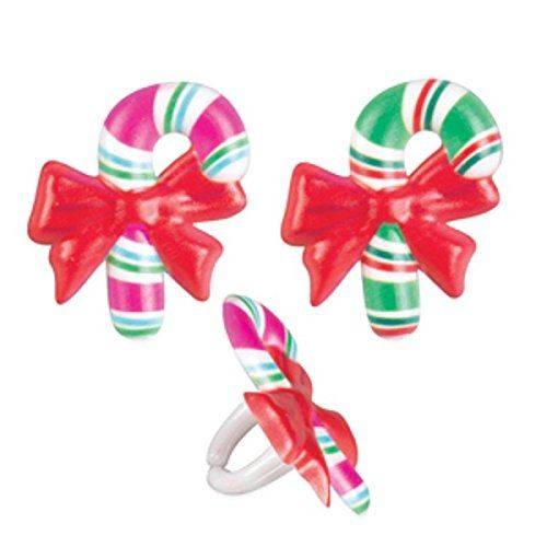 Christmas Candy Cane With Bow Stocking Cupcake Cake Decorating Rings 1 Red White Set Of 12