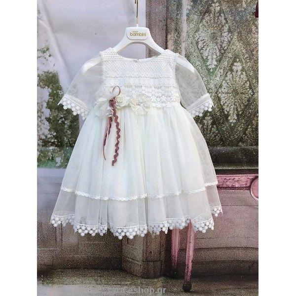 8ad632552ac8 Χειμερινό φόρεμα βάπτισης Dolce Bambini σε λευκό του πάγου βαμβακερό με  τούλι
