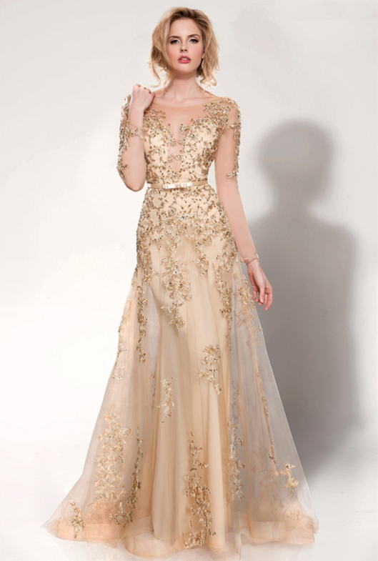 e967d841abb Trumpet Mermaid Bateau Illusion Neck Long Sleeve Beading Crystal Detailing  Sequins Floor-length Long Tulle Evening Dresses