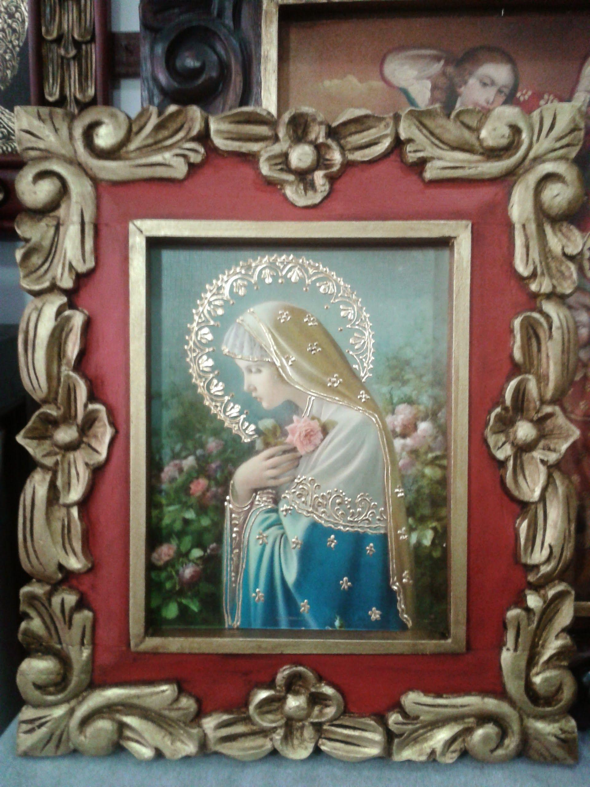Virgen Rosa Mística. Lámina iluminada marco talla en madera ...
