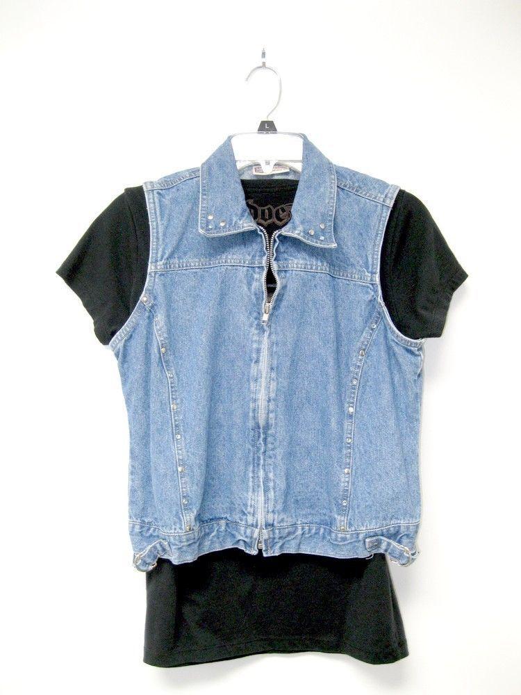 Vintage 90's Zip Front Studded Cropped Denim Vest Women's Juniors S /M #FadedGlory