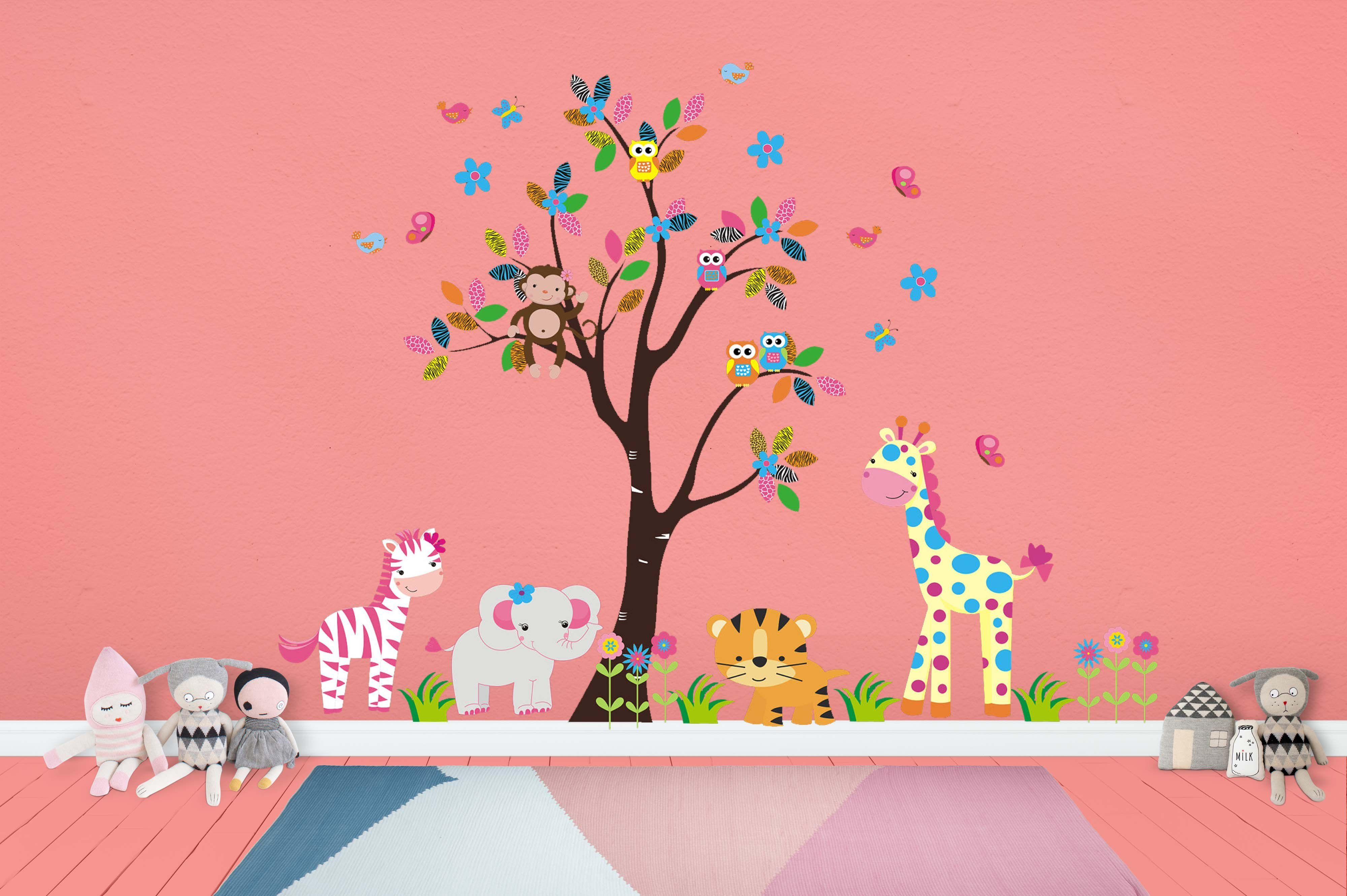 Fun Color Wall Decals Cute Animal Wall Stickers Peel And Stick Nursery Decals Nature Wall Art Zoo Animal Wall Mural 85 X 105 Nursery Wall Stickers Nursery Decals Wall Stickers
