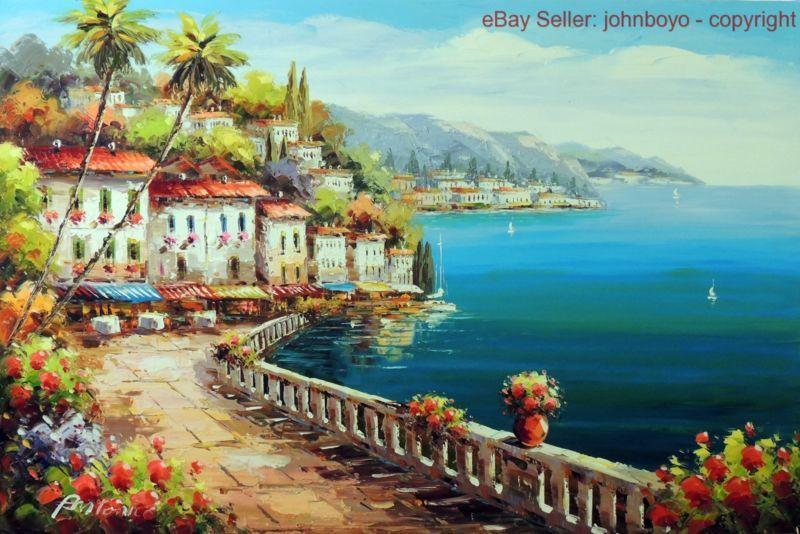 Painting: Italian Beach Town Cafe Restaurant Boats ...
