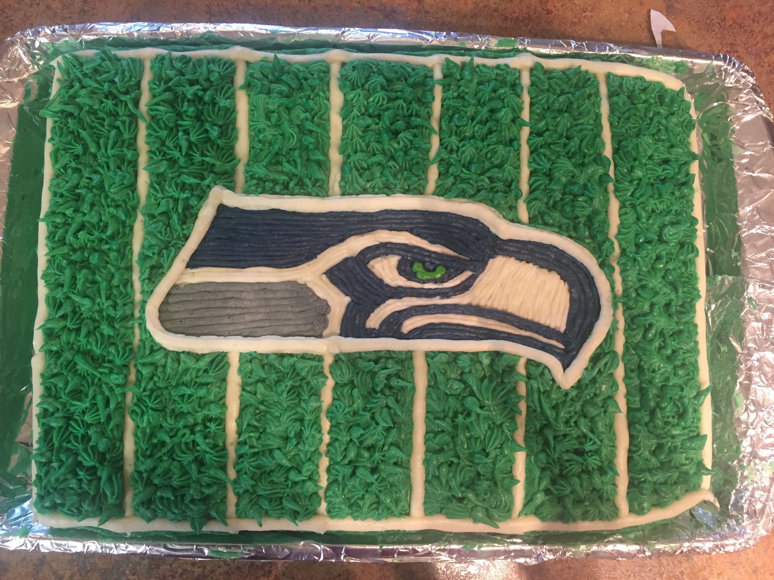 Seattle Seahawks cake with Buttercream icing.