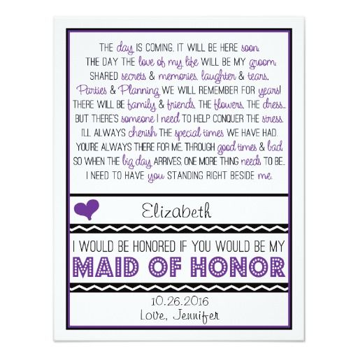 Will you be my Maid of Honor? Purple/Black Poem V2 Card