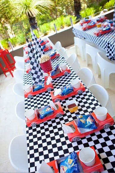 3 Racing Tire Whirls Swirls Decor Birthday Party Checkered Nascar Car Race Event