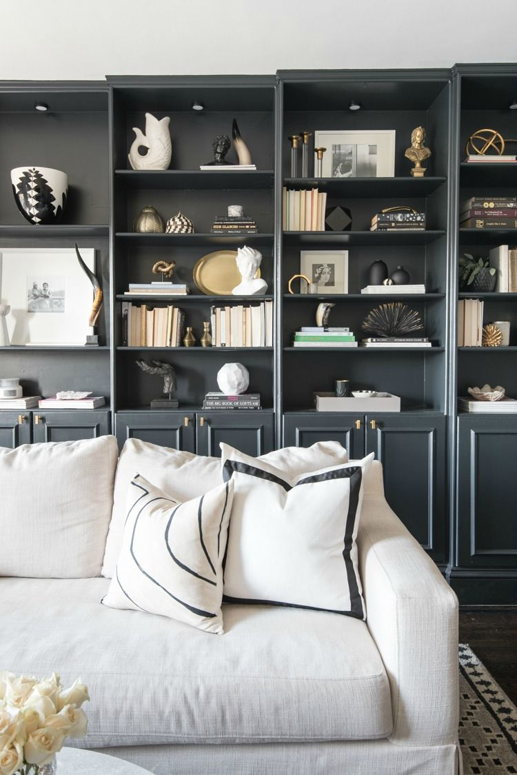 Living Room Library Design Ideas: Library + Bookshelf Decorating Ideas. White Sofa, Black