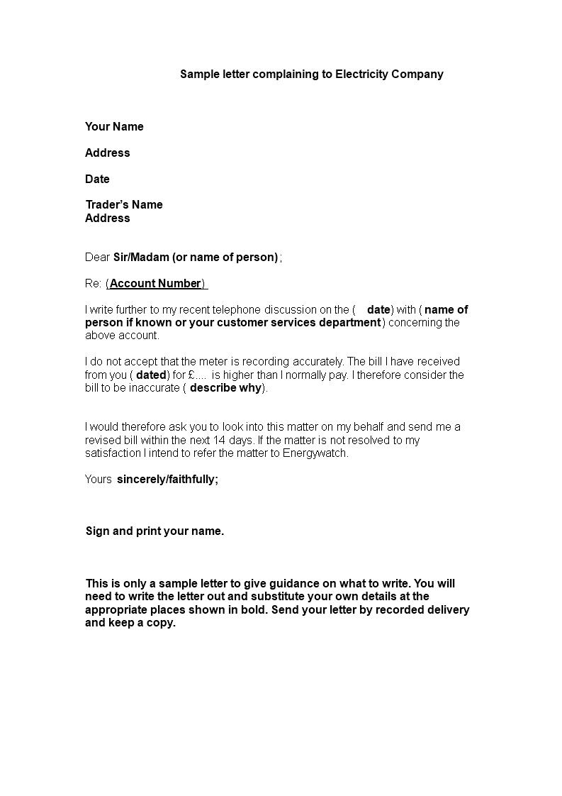 Electricity Complaint Letter Format - Do you have an urgent