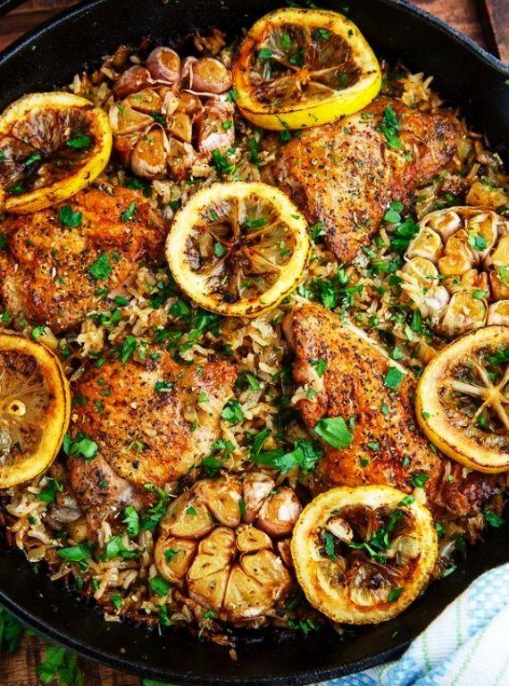 Pan Greek Lemon Chicken Rice with Roast Garlic -  10 Must Try Easy Greek Food Recipes – Fill My R