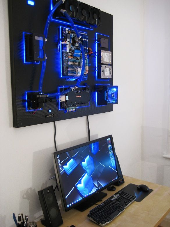 Gallery Of An Awesome Wall Mounted Custom Pc With Beautiful Liquid Cooling System Computer Setup Gaming Room Setup Wall Mounted Pc