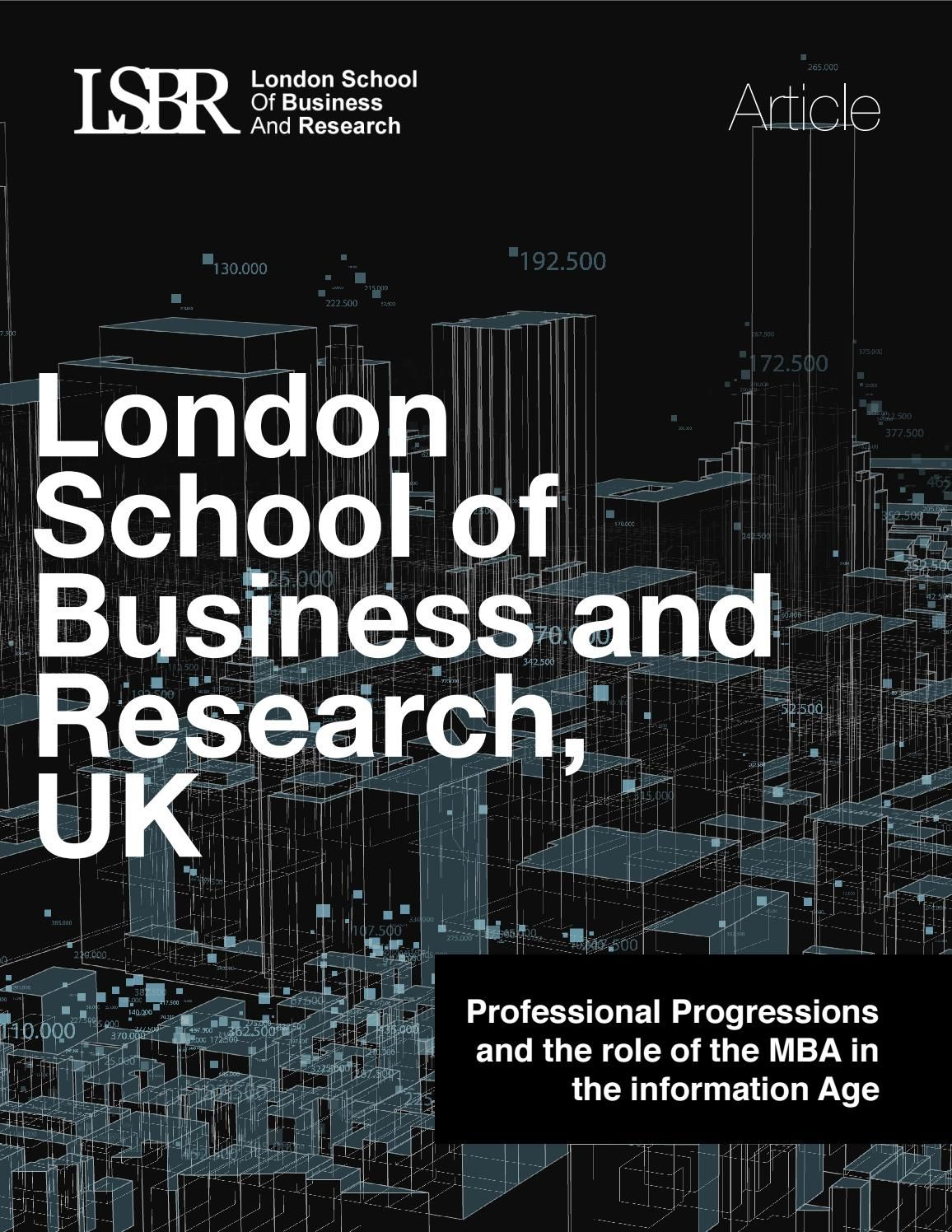 Professional Progressions and the role of the MBA in the