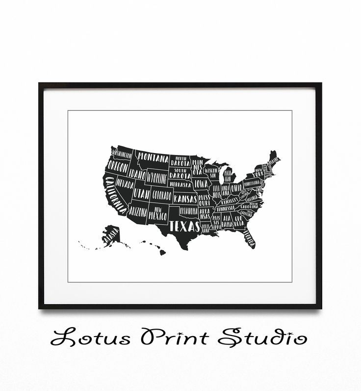 United States Map Print, US Map, USA Poster, All States ...