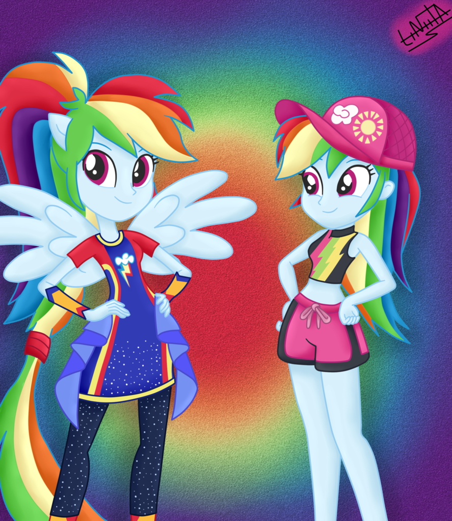 1684190 Artist Liniitadash23 Clothes Duality Equestria Girls Female Forgotten Friendship My Little Pony Rarity Rainbow Dash My Little Pony Characters