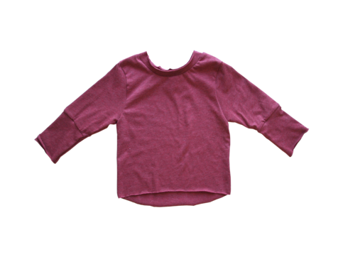 Simple and basic, this long sleeve tee is the perfect garment for cooler months and transitioning beautifully into the warmer seasons. Features raw edge hems, cuffed sleeves, and high low bottom hem.     Material: cotton + Lycra blend Sizes: 6m to 4t Color: vintage red  Not pre-shrunk.  Wash