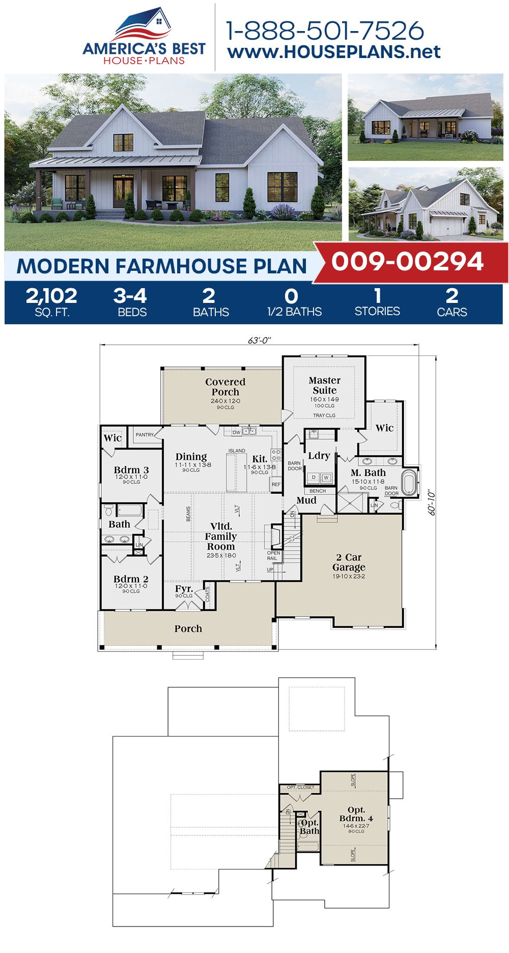 House Plan 009 00294 Modern Farmhouse Plan 2 102 Square Feet 3 4 Bedrooms 2 Bathrooms Modern Farmhouse Plans Farmhouse Plans House Plans Farmhouse