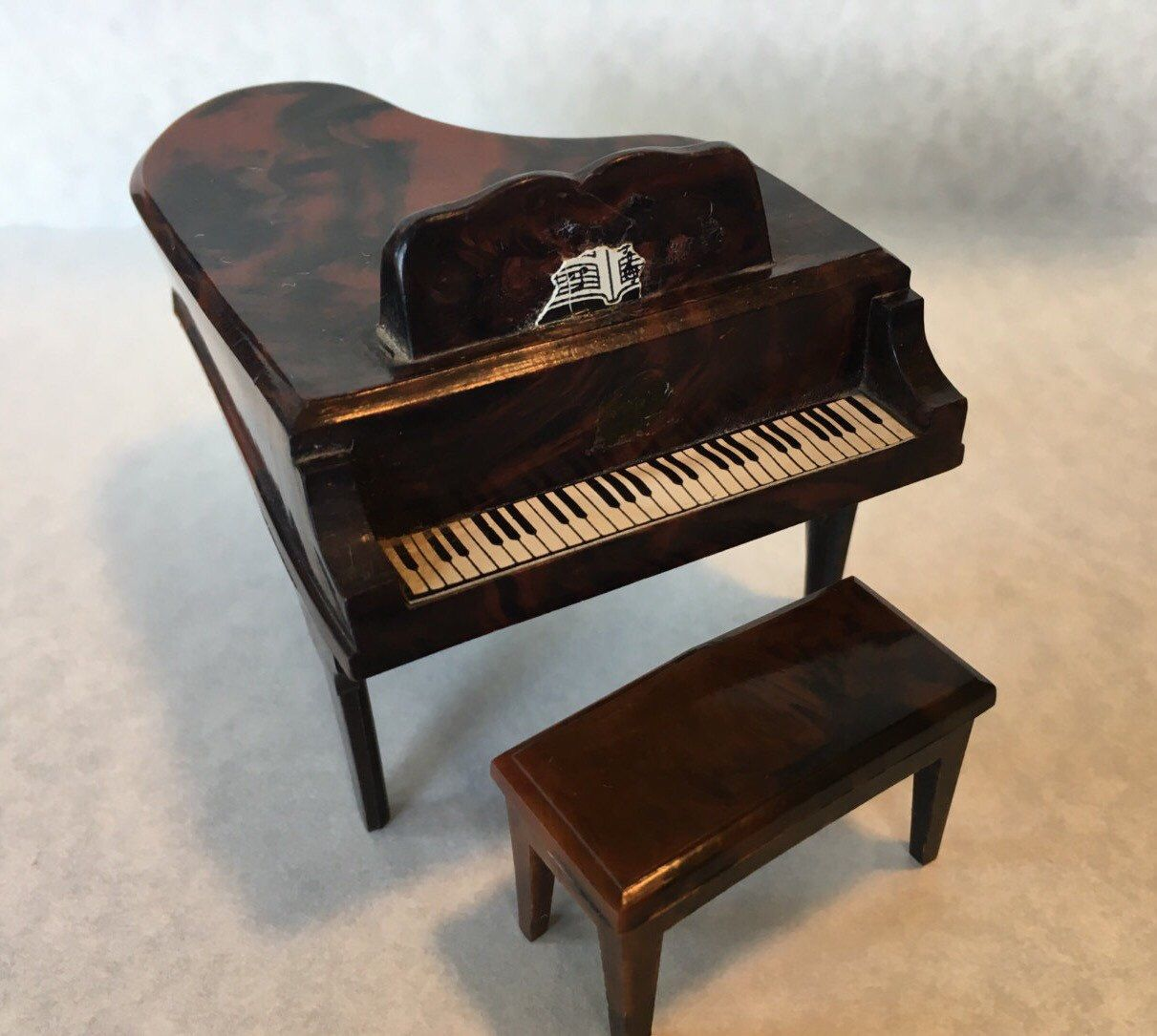 Dollhouse Miniature Piano and Bench