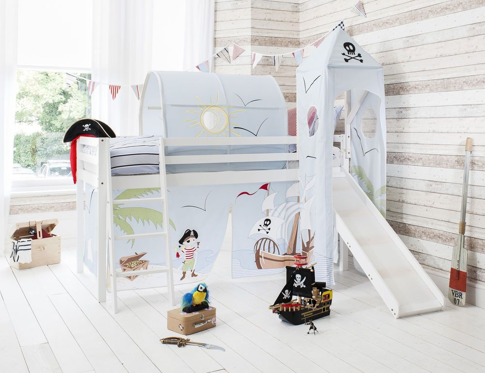Cabin Bed Mid Sleeper Pine Kids Bed With Slide Pirate Pete Tent 6670