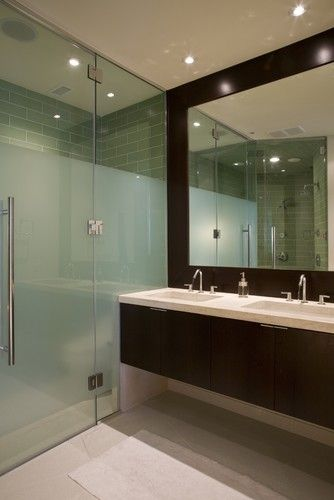 Love This Frosted Frameless Shower With The Oversized Mirror In