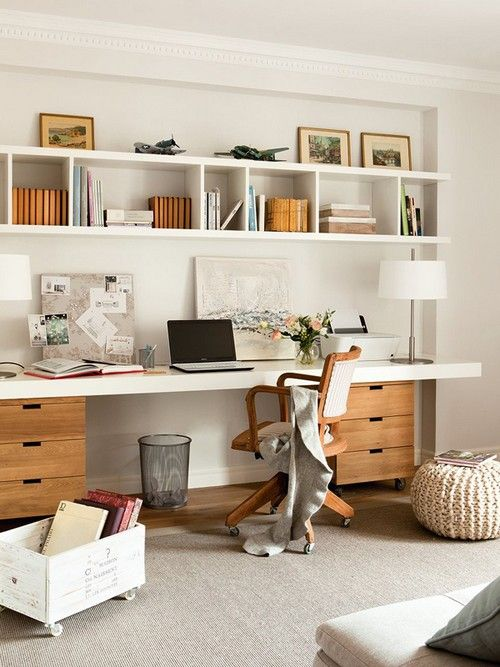 White Office With Comfortable Storage Home Shelves Desk