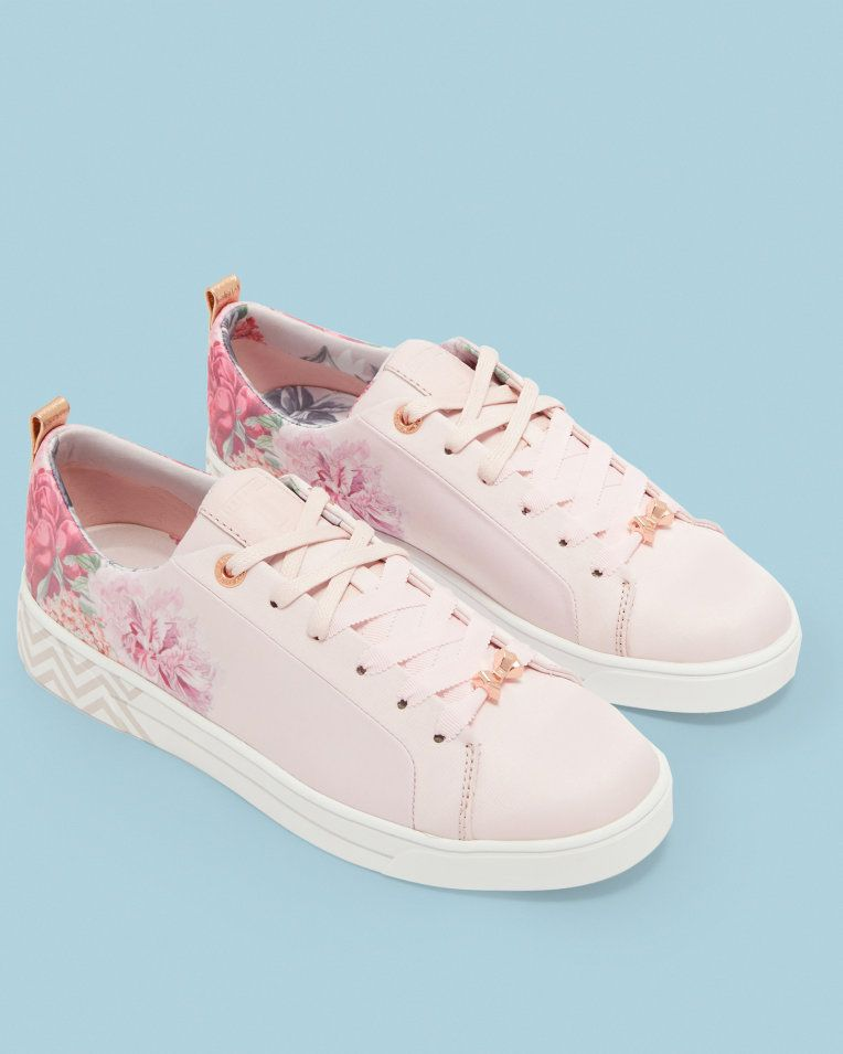 bf3dbd795fc8 Floral print trainers - Dusky Pink | Shoes | Ted Baker UK | Shoes in ...