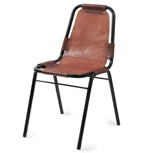Leather And Metal Industrial Chair In Brown