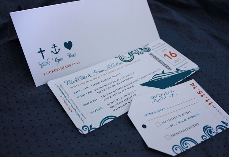 Orange Dark Blue Swirl Cruise Ship Boarding Pass Wedding