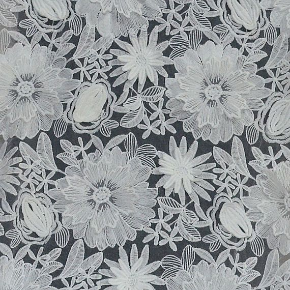 White Lace Fabric 3d Flower Organza Embroidery Materials