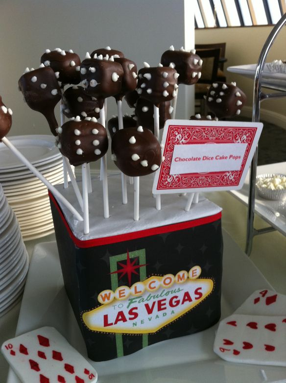 Casino party chocolate dice cake pops treats and