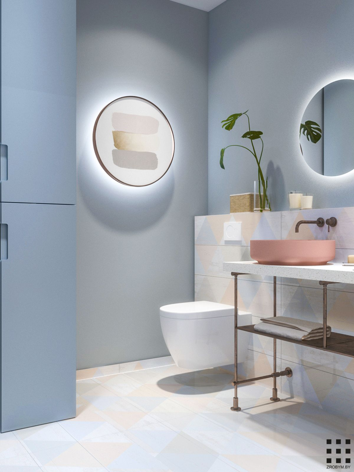 Hygge Flat On Behance In 2020 Bathroom Decor Pastel Bathroom