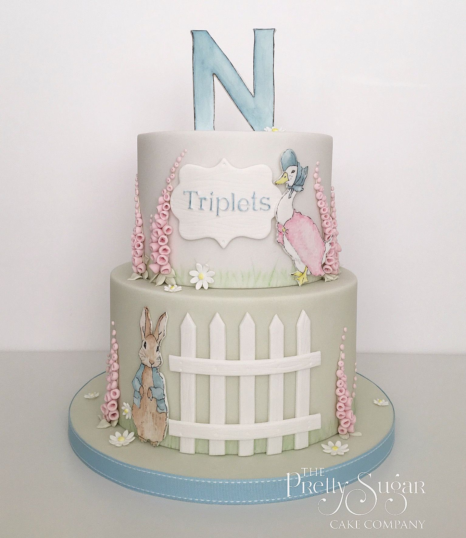 Beatrix Potter Theme Baby Shower Cake With Hand Painted Details Christening Cake Girls Peter Rabbit Cake Beatrix Potter Cake