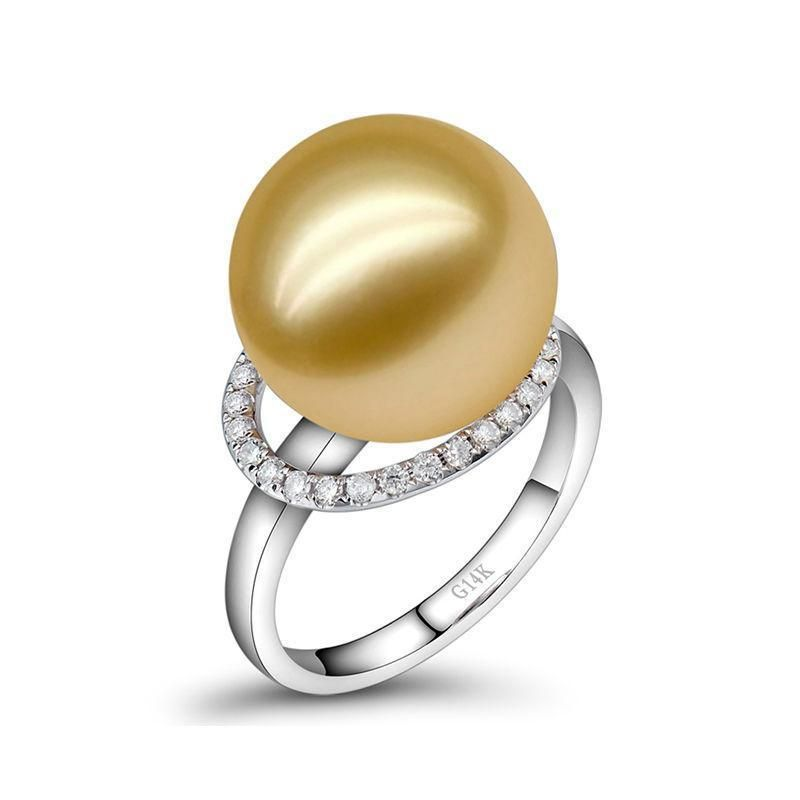 Good quality freshwater pearl diamonds wedding rings solid