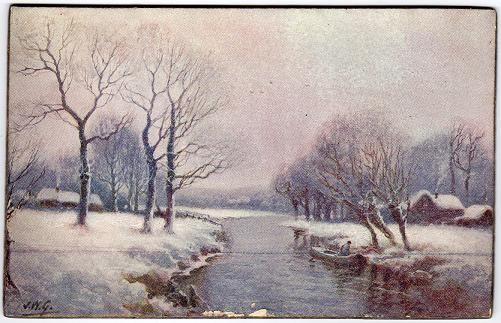 Evening Glow SNOWSCAPE WOODS C W Faulkner SUNSET Vintage Postcard