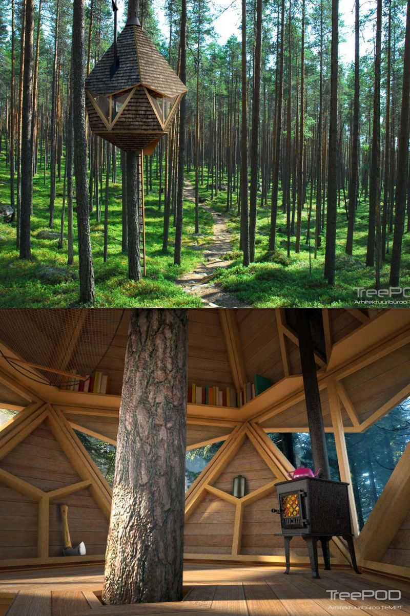 The treehouse by Estonia-based architecture and design firm Tempt OÜ is just exceptional, as it is built around a single tree.   #treehouse #treehousehotel #treehouseresort #getaway