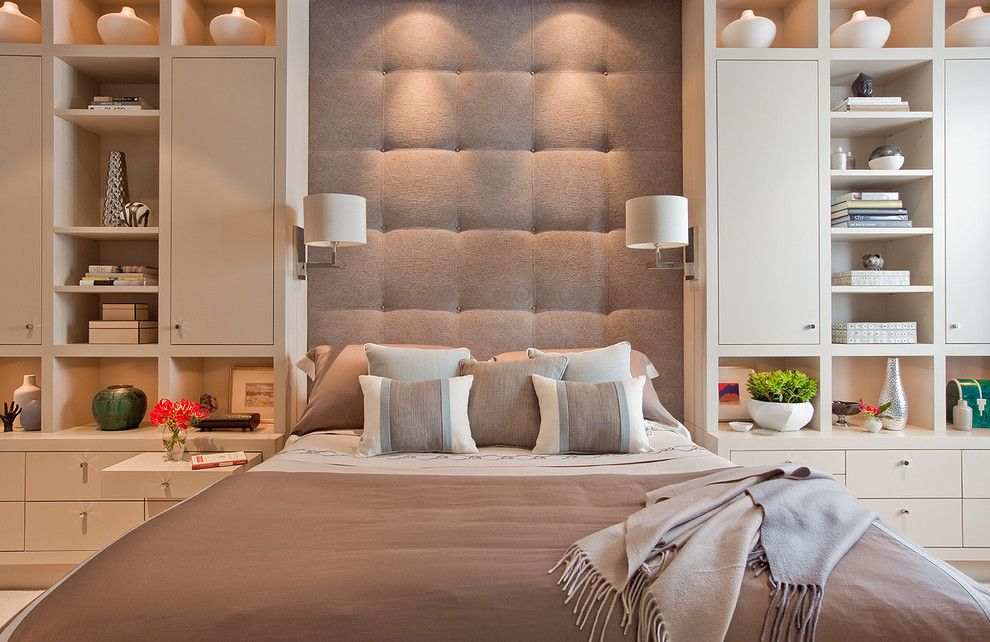 Cushion Headboard Bedroom Contemporary With Bed Pillows Bedside Table Below Cabinet Lighting
