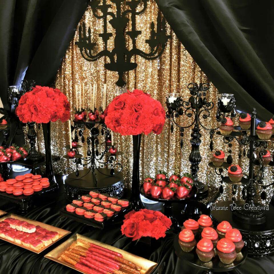 Black Gold And Red Red Birthday Party Black Party Decorations