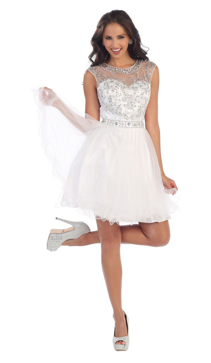 9ab7472036 This stunning homecoming short dress features sleeveless