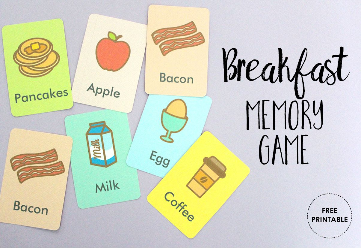 Free Printable Memory Game Breakfast Foods