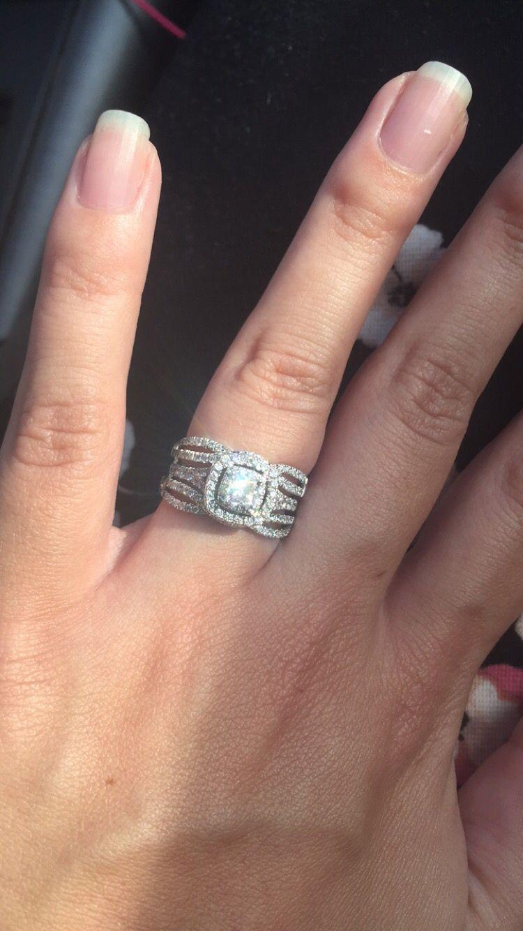 Neil Lane double halo engagement ring with Zales wedding