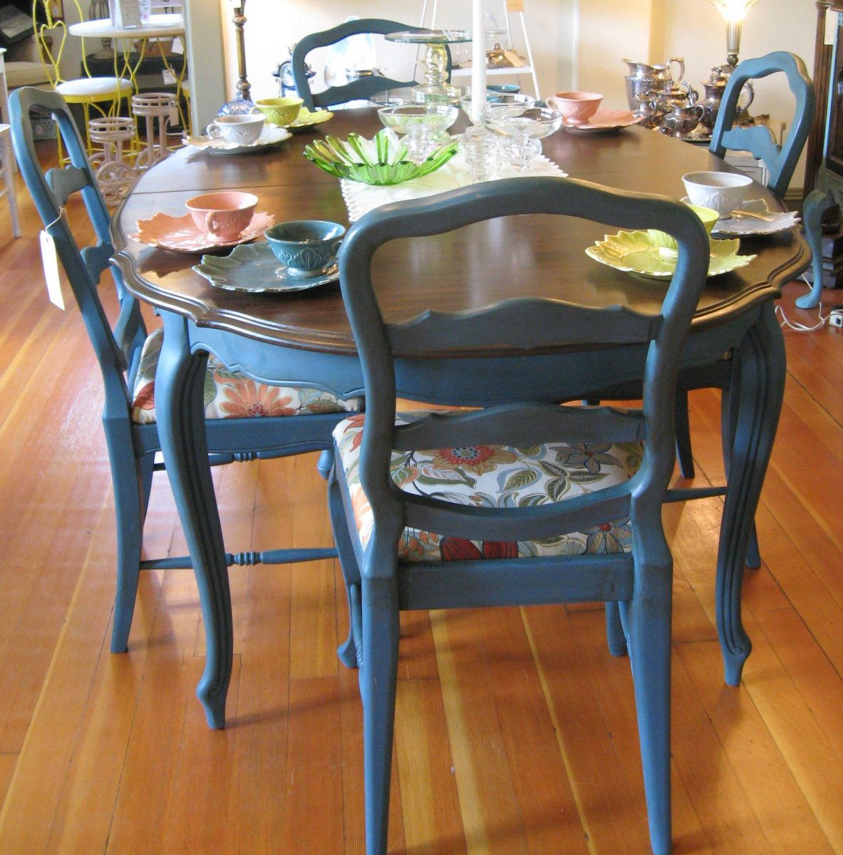 Blue Kitchen Table And Chairs: Aubusson Blue Looking French Country.