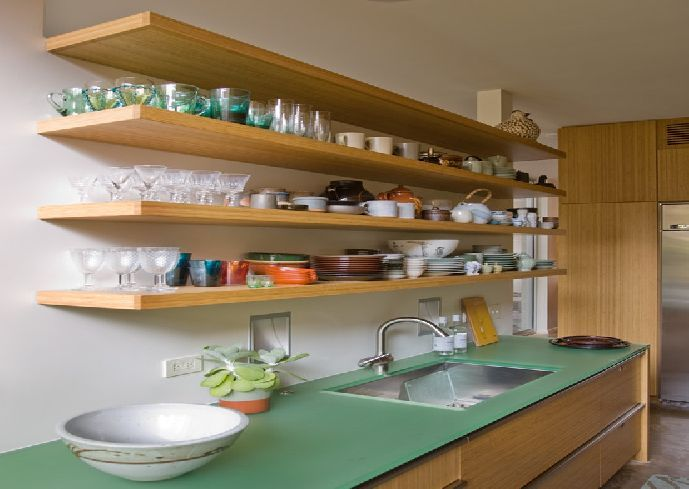 Modern Long Laminate Wooden Kitchen Wall Shelves Units With Kitchen Stuff  Appliances Green Island Sink Chrome