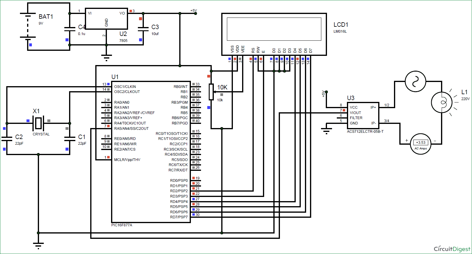 Shock Alarm Circuit Electronic Circuits And Diagramelectronics Digital Ammeter Using Pic Acs712 Microcontroller