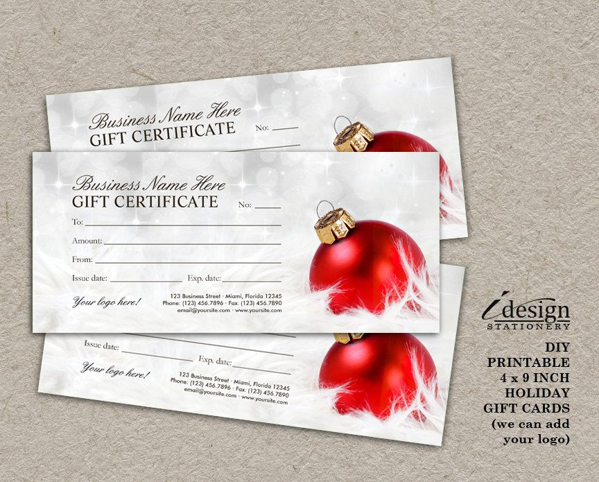 Christmas Gift Certificates | Printable Holiday Gift Cards ...