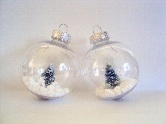 Snow Globe Tree Ornament - White Winter Orb - Rust