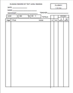 Free Running Record Recording Sheet