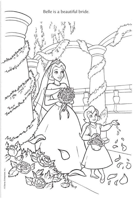 Coloriage La Belle Et La Bete Disney Coloring Pages Princess Coloring Pages Wedding Coloring Pages