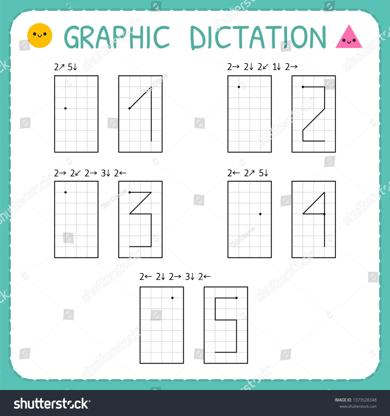 Graphic Dictation Numbers 1 5 Kindergarten Educational